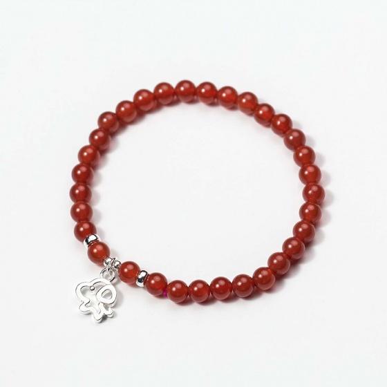 Vòng tay đá mã não đỏ charm cún con - Ngọc Quý Gemstones