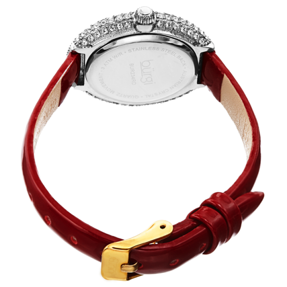 Đồng hồ thời trang nữ Burgi BUR234RD mặt oval viền đá swarovski dây da 28mm