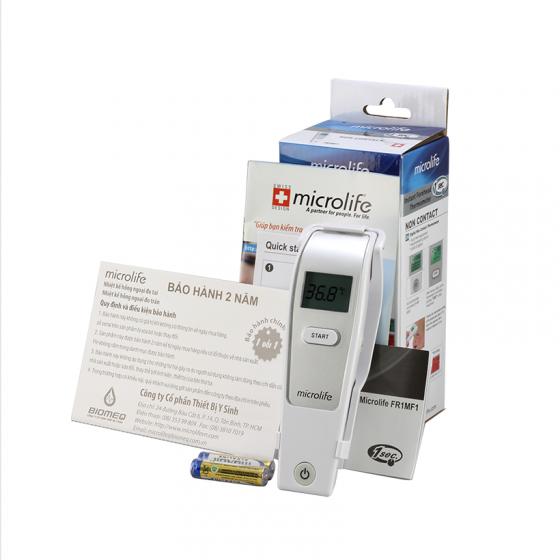 Nhiệt kế hồng ngoại đo trán Thuỵ Sĩ Microlife FR1MF1 - Tặng nhiệt kế điện tử đầu mềm USA MDF-008 trị giá 150k