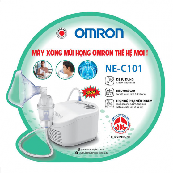 Máy xông mũi họng Omron NE-C101 Nhật Bản chính hãng + Tặng kèm nhiệt kế điện tử đầu mềm Takano