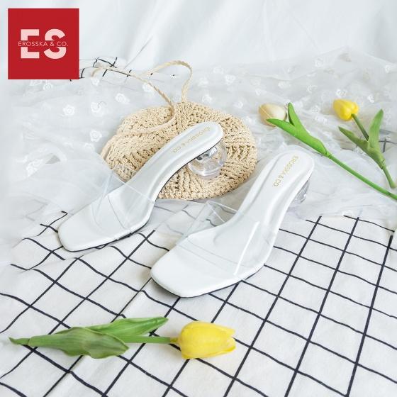 Dép nữ, dép cao gót thời trang Erosska mũi vuông phối mica trong kiểu dáng basic cao 5 cm BM001 (màu trắng)