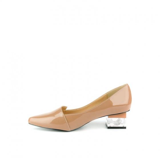 Giày bít mũi nhọn gót vuông SUNDAY BB43 - Màu nâu