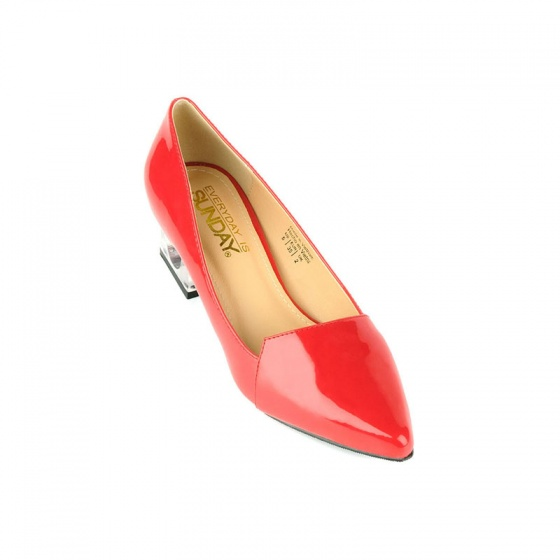 Giày bít mũi nhọn gót vuông SUNDAY BB43 - Màu đỏ