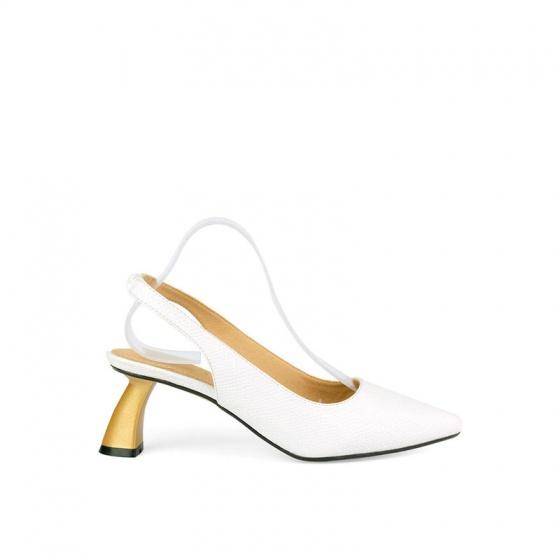 Giày cao gót cách điệu vân da rắn SUNDAY CG50 - Màu trắng