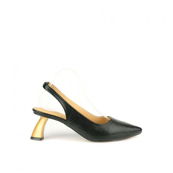 Giày cao gót cách điệu vân da rắn SUNDAY CG50 - Màu đen