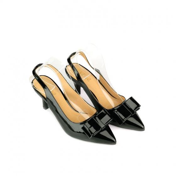 Giày bít mũi nhọn đính nơ SUNDAY CG53 - Màu đen