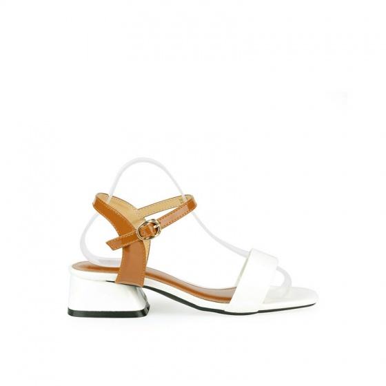 Giày sandal gót vuông quai ngang SUNDAY DV67 - Màu trắng