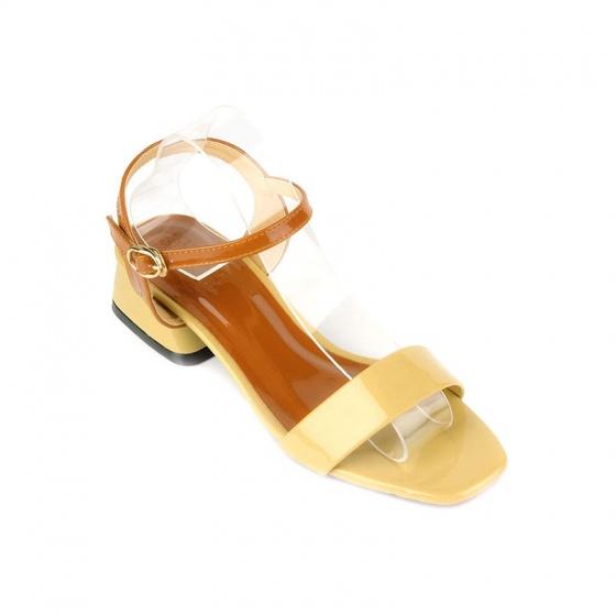 Giày sandal gót vuông quai ngang SUNDAY DV67 - Màu phê sữa