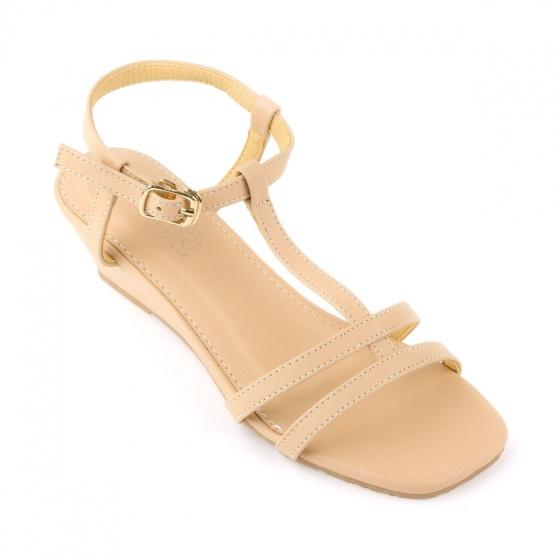 Giày sandal đế xuồng quai chữ t SUNDAY DX25 - Màu kem