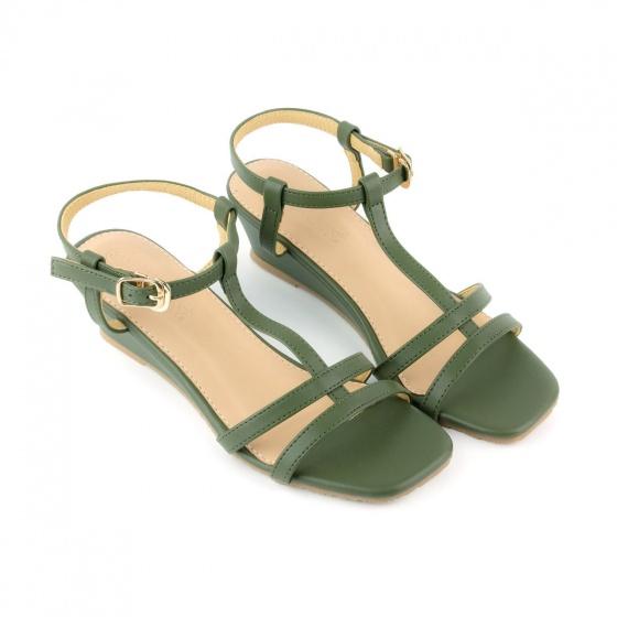 Giày sandal đế xuồng quai chữ t SUNDAY DX25 - Màu xanh rêu
