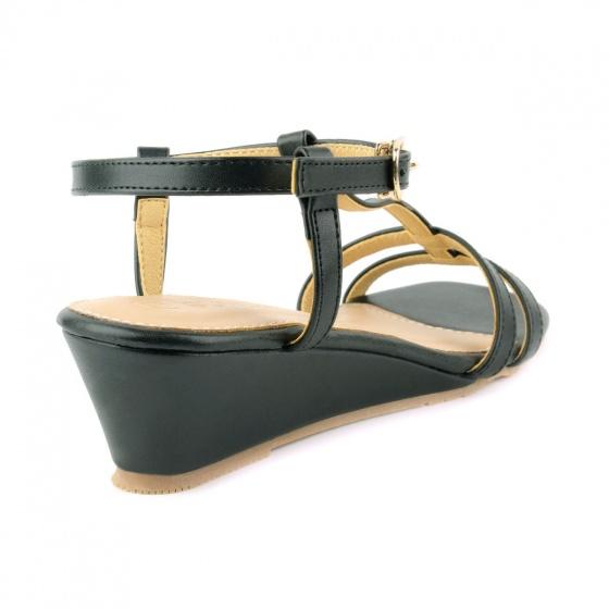 Giày sandal đế xuồng quai chữ t SUNDAY DX25 - Màu đen