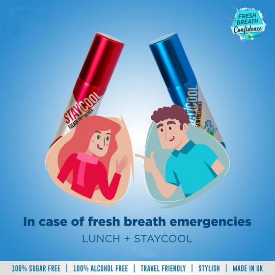 Bộ đôi xịt thơm miệng kháng khuẩn StayCool hương Bạc Hà và hương Dâu tây - Cho cặp đôi hơi thở trọn vẹn [QC-Vneshop]