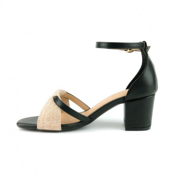 Giày sandal gót vuông phối màu SUNDAY DV62 - Màu đen