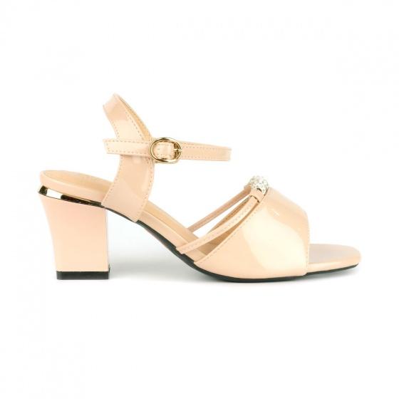 Giày sandal gót vuông quai phối hạt SUNDAY DV61 - Màu kem