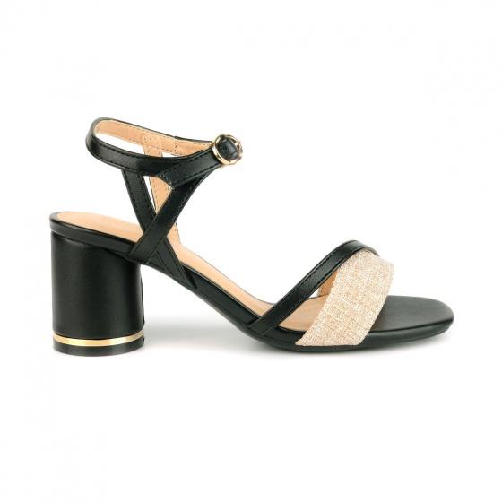 Giày sandal gót trụ phối màu SUNDAY DV63 - Màu đen