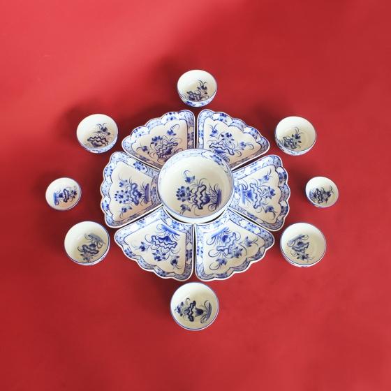 Bộ bát đĩa hoa mặt trời vẽ hoa Sen cổ chế tác thủ công tại Bát Tràng
