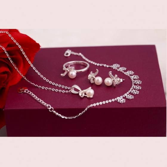 Bộ sản phẩm bạc và ngọc trai - Opal - SPT6-04