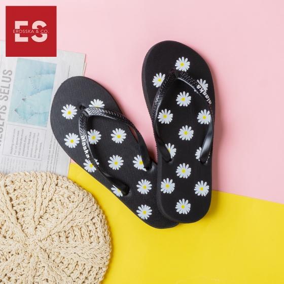 Dép nữ, dép kẹp đi biển xỏ ngón in hoạ tiết hoa cúc thời trang Erosska DK012