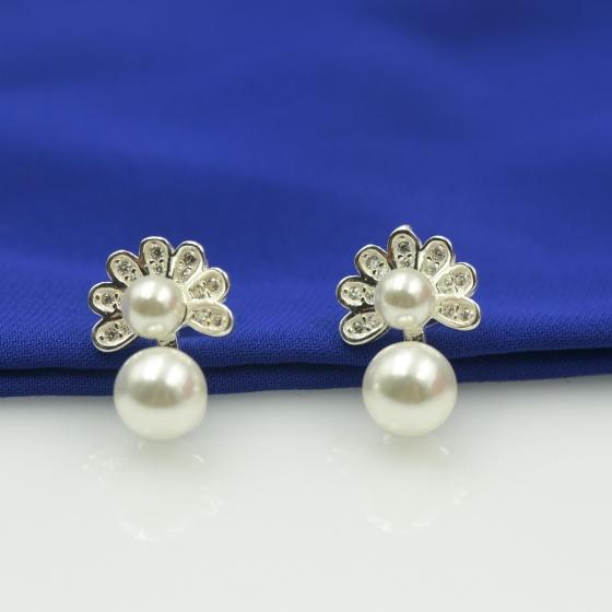 Hoa tai bạc Opal - E14