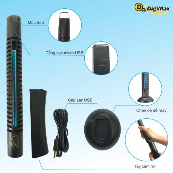 Máy diệt khuẩn Digimax UV-C thiết kế cầm tay. Pin sạc USB 5V (DP-3EC)