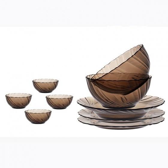 Bộ bàn ăn 9 món D7009BC Duralex - Beau Rigave  Nâu Khói Creole Thủy tinh cường lực cao cấp Pháp