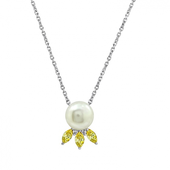 Dây chuyền Nụ hoa biển J'admire bạc cao cấp mạ Platinum đính ngọc trai và đá Swarovski Zirconia - 5 màu lựa chọn