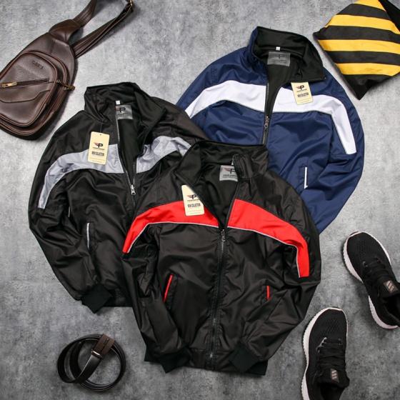 Áo khoác dù nam 2 mặc 2 lớp chống nước cao cấp akd32-sọc đỏ