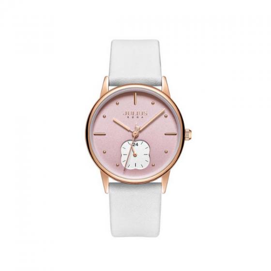 Đồng hồ nữ Julius Hàn  Quốc JA-1224B dây da trắng mặt hồng