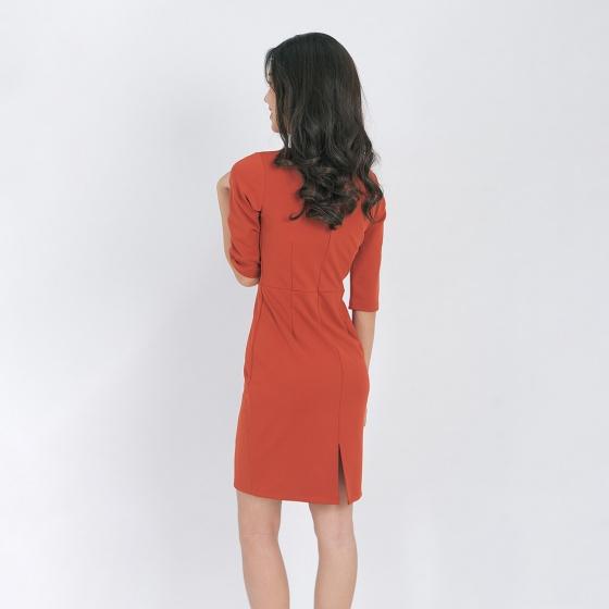 Váy đầm công sở thời trang Eden tay lỡ phối bèo cổ - D407