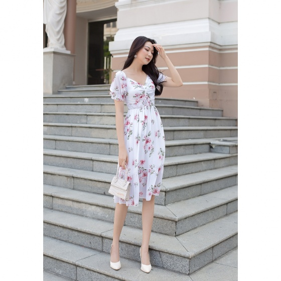 Váy đầm thời trang công sở Eden họa tiết hoa phối dây rút - D404