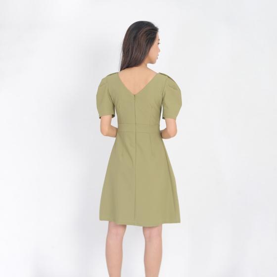 Váy đầm công sở thời trang eden dáng chữ a cổ tim tay phồng - D405
