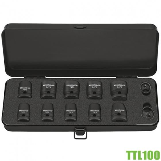 TTL100 bộ đầu tuýp đen 14 chi tiết 10-24mm cho máy xiết bulong