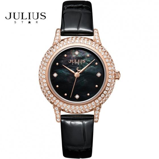 Đồng hồ nữ Julius Star Hàn Quốc JS-044 dây da mặt kính sapphire đính đá