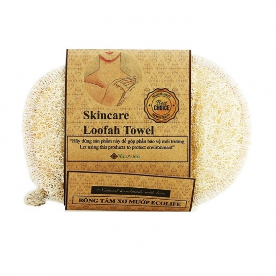Bông tắm xơ mướp oval ECOLIFE KOREA - Oval Natural Loofah Bath Sponge
