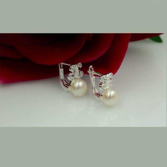 Hoa tai ngọc trai Opal - E1