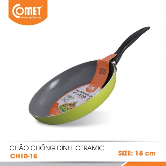 Chảo chống dính Ceramic an toàn cán đen 18cm CH10-18