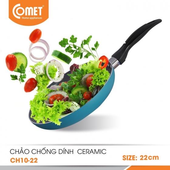 Chảo chống dính Ceramic an toàn cán đen 22cm CH10-22