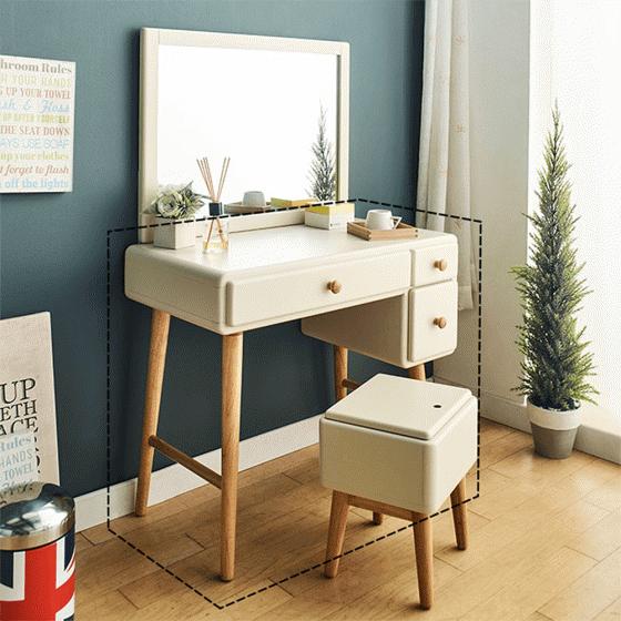 Bộ bàn trang điểm Pansy gỗ cao su - cozino