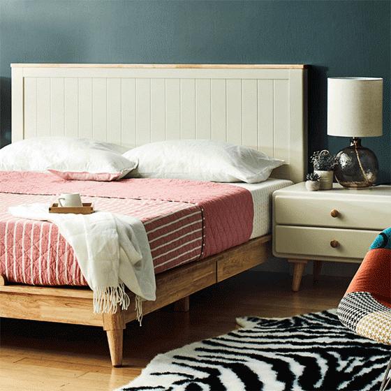 Giường đôi Pansy gỗ cao su 1m6 - cozino