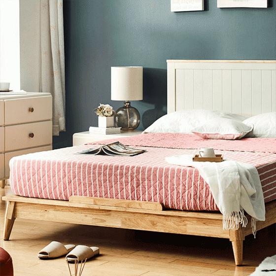Giường đôi Pansy gỗ cao su 2m0 - cozino