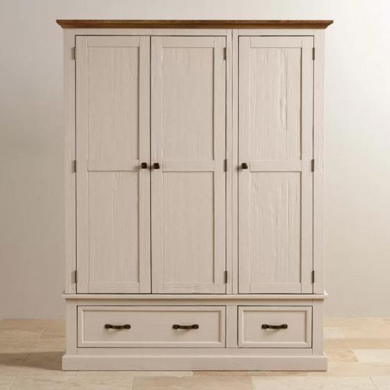 Tủ quần áo Sark 3 cánh 2 ngăn kéo gỗ sồi 2m0 - cozino