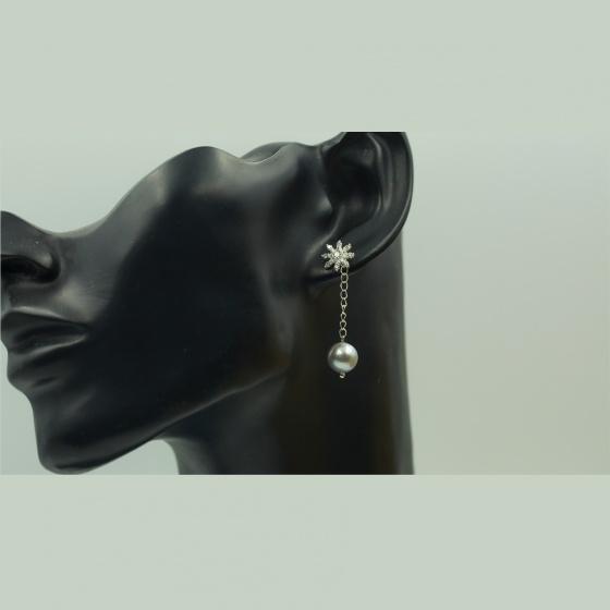Hoa tai ngọc trai xám - Opal - E3