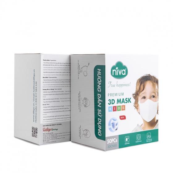 Hộp 50 chiếc khẩu trang Niva 3D cao cấp dành cho trẻ em