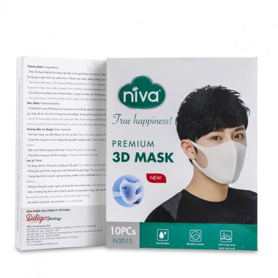Hộp 10 chiếc khẩu trang 3D Niva cao cấp người lớn- kháng khuẩn, chống bụi bảo vệ sức khỏe