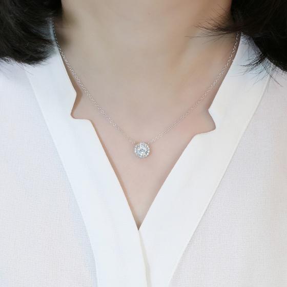 Vòng cổ Beauty Sun Jadmire bạc cao cấp mạ bạch kim đính đá Swarovski Zirconia trắng