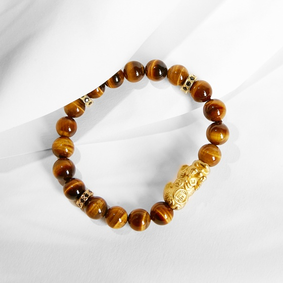 Vòng tay đá thiên nhiên phối charm tỳ hưu mạ vàng 8mm - Ngọc Quý Gemstones
