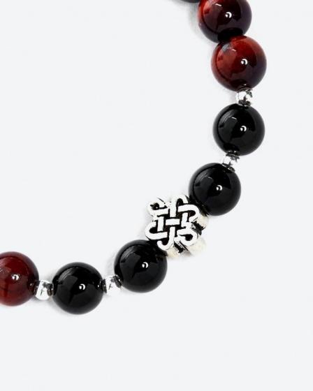 Vòng tay đá mắt hổ nâu đỏ phối đá obsidian đen và charm kết đồng tâm bạc - Ngọc Quý Gemstones