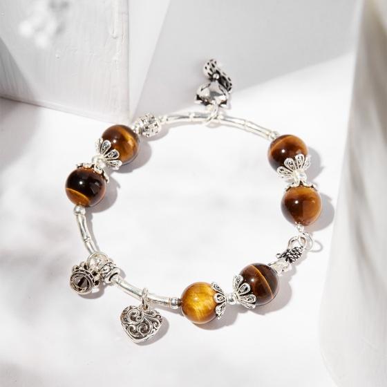 Vòng tay đá thiên nhiên charm hồ ly bạc - Ngọc Quý Gemstones