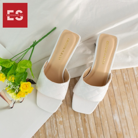 Dép cao gót Erosska thời trang mũi vuông quai ngang phối gót sơn gỗ kiểu dáng thanh lịch cao 5cm EM045