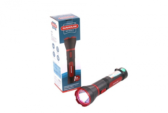 Đèn pin tay cầm Sunhouse SHE-4111 cỡ lớn, đen đỏ